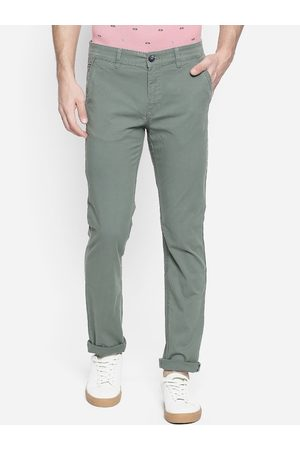 Urban Ranger by pantaloons Men Green Slim Fit Solid Regular Trousers