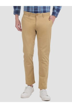 Aeropostale Men Khaki Brown Slim Fit Solid Regular Trousers