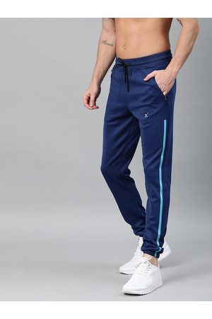 HRX Men Navy Blue Solid Straight Fit Lifestyle Joggers
