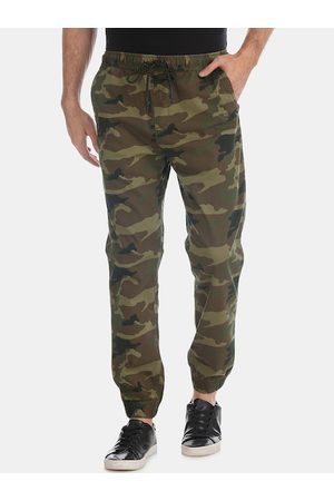 Aeropostale Men Olive-Green & Brown Camoflauge Print Woven Straight-Fit Joggers