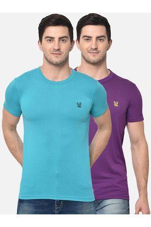 VIMAL JONNEY Men Pack Of 2 Blue & Purple Solid Round Neck T-shirt