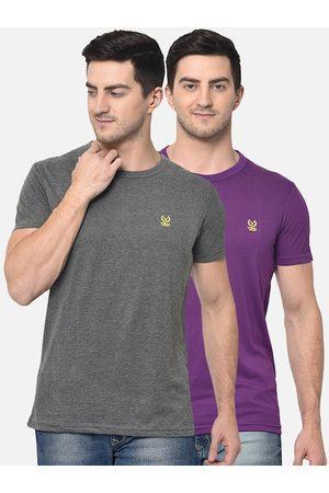 VIMAL JONNEY Men Pack Of 2 Solid Round Neck T-shirts