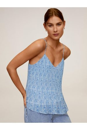 MANGO Women Blue & White Abstract Printed Accordion Pleated A-Line Sustainable Top