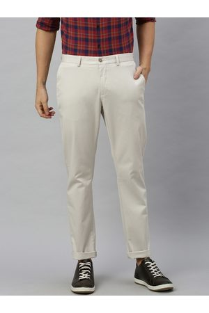 Blackberrys Men Beige Tapered Fit Solid Chinos