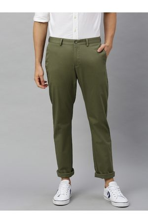 Blackberrys Men Olive Green Tapered Fit Solid Chinos