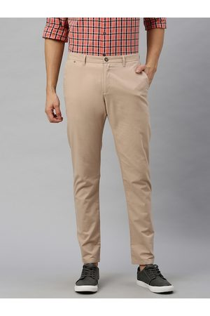 Blackberrys Men Beige Rafa Super Slim Fit Solid Regular Trousers