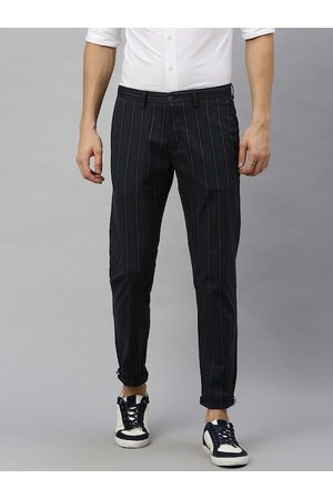 Blackberrys Men Teal Blue & Charcoal Grey Phoenix Skinny Fit Striped Regular Trousers