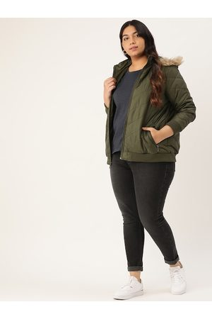 Sztori Women Olive Green Plus Size Quilted Solid Parka