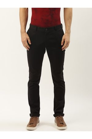 Blackberrys Men Black Slim Fit Solid Regular Trousers