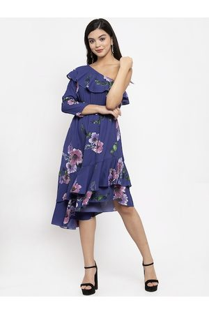 KASSUALLY Women Blue & Pink Printed One-Shoulder Asymmetric Fit and Flare Dress