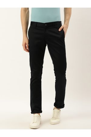 Blackberrys Men Navy Blue Skinny Fit Solid Regular Trousers