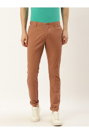 Blackberrys Men Rust Brown Slim Fit Solid Regular Trousers