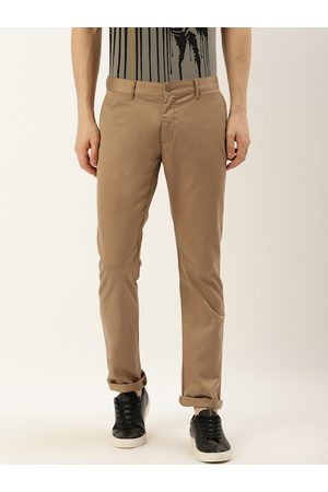 Blackberrys Men Khaki Sharp Skinny Fit Solid Regular Trousers