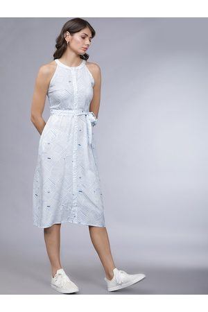Tokyo Talkies Women Blue Printed Fit and Flare Dress