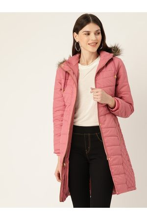 DressBerry Women Pink Solid Longline Parka Jacket with attached Hood