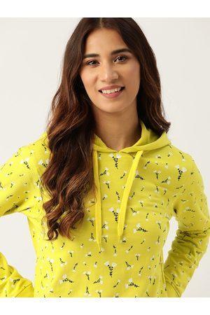 DressBerry Women Lime Green & White Floral Printed Hooded Sweatshirt