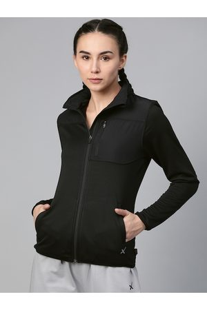 HRX Women Blk Solid Rapid-Dry Antimicrobial Outdoor Jacket