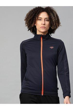 HRX Women Outdoor Jackets - Women Navy Colourblocked Rapid-Dry Antimicrobial Outdoor Jacket