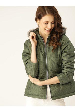 DressBerry Women Olive Green Solid Hooded Parka Jacket