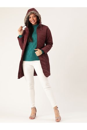DressBerry Women Burgundy Solid Longline Hooded Parka Jacket