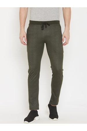 Okane Men Olive Green Self-Design Slim-Fit Track Pants