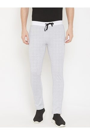 Okane Men White Self-Design Slim-Fit Track Pants