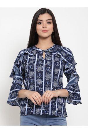 Aujjessa Women Navy Blue Printed Top
