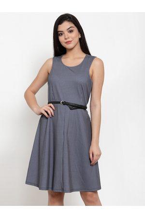 Aujjessa Women Navy Blue Striped Fit and Flare Dress