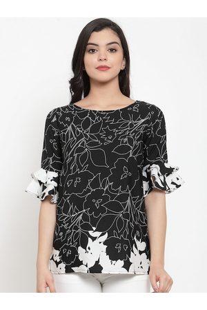 Aujjessa Women Black & White Printed Top
