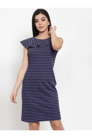 Aujjessa Women Navy Blue Striped Sheath Dress