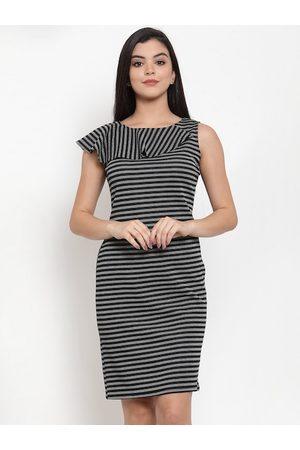 Aujjessa Women Black & Grey Striped Sheath Dress