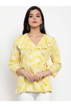Aujjessa Women Yellow & White Floral Printed Wrap Top