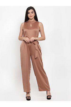 Aujjessa Women Copper Solid Basic Jumpsuit