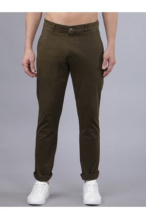 Highlander Men Olive Green Slim Fit Solid Regular Trousers