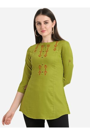 Kvsfab Women Lime Green Solid A-Line Kurti