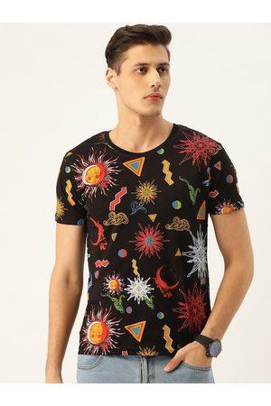 Moda Rapido Men Black & Red Printed Round Neck T-shirt