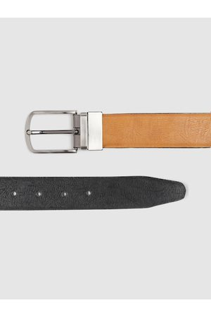 Highlander Men Tan Brown & Black Textured Reversible Belt
