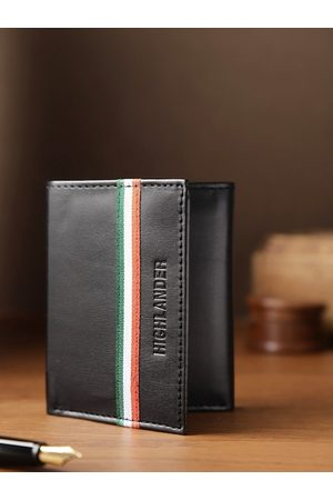 Highlander Men Black Solid Three Fold Wallet with Striped Detail