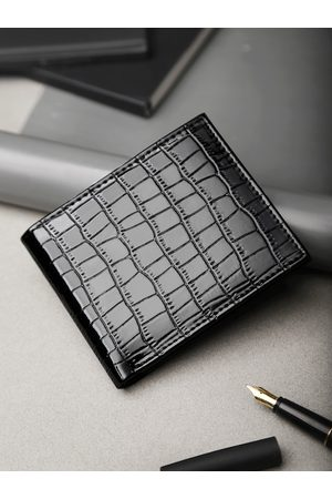 Highlander Men Black Croc Textured Two Fold Wallet