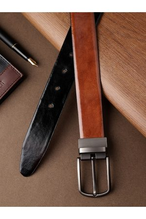 Highlander Men Black & Brown Solid Reversible Belt