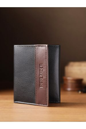 Highlander Men Wallets - Men Black Solid Three Fold Wallet with Colourblocked Detail