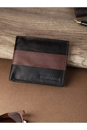 Highlander Men Black & Coffee Brown Colourblocked Two Fold Wallet