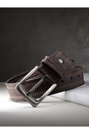 Highlander Men Coffee Brown Textured Belt