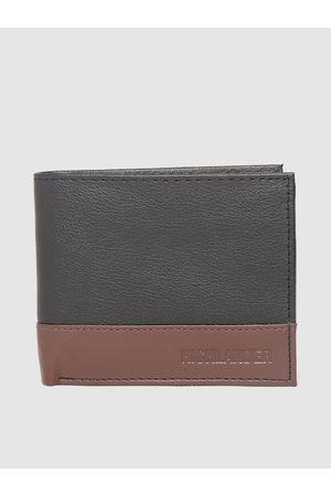 Highlander Men Black & Brown Colourblocked Two Fold Wallet