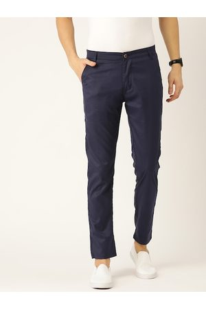 SOJANYA Men Navy Blue Smart Regular Fit Solid Trousers