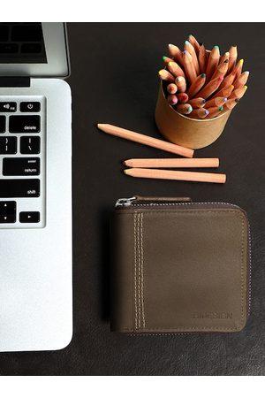 Hidesign Men Brown Solid Zip Around Leather Wallet