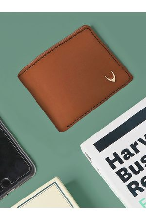 Hidesign Men Tan Solid Two Fold Leather Wallet