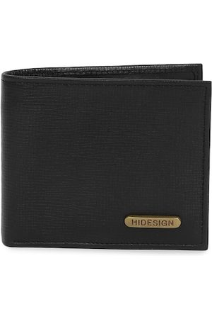 Hidesign Men Black Textured Two Fold Leather Wallet