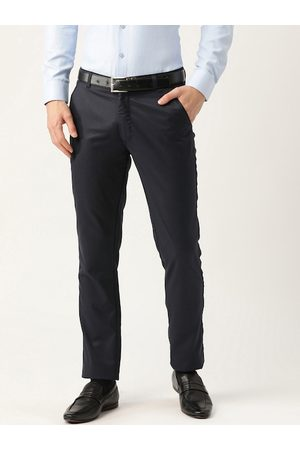 SOJANYA Men Navy Blue Smart Slim Fit Solid Formal Trousers