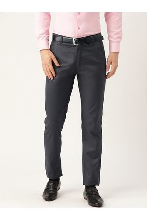 SOJANYA Men Charcoal Grey Smart Slim Fit Solid Formal Trousers